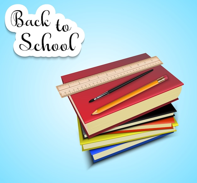 Back to school with a stack of school textbooks Premium Vector