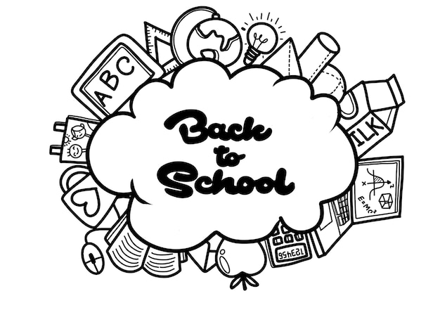 Back to school with texture from line art icons of education, art, objects and office supplies Premium Vector