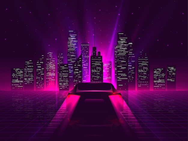 Premium Vector Back Side Sport Car Silhouette With Neon Glowing Red Rear Lights Riding On High Speed At Night With Cityscape On Background Outrun Or Vaporwave Retro Futuristic Aesthetic