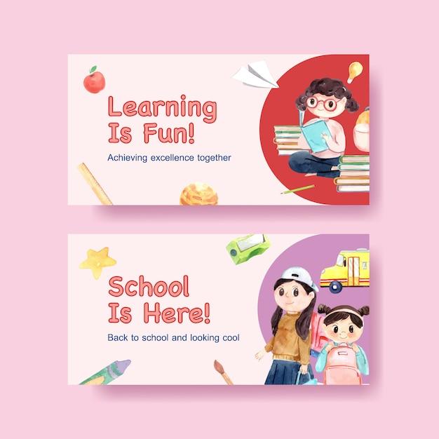 オンラインおよびデジタルマーケティングの水彩画を広告するためのtwitterテンプレートを使用した学校と教育のコンセプトに戻る 無料ベクター