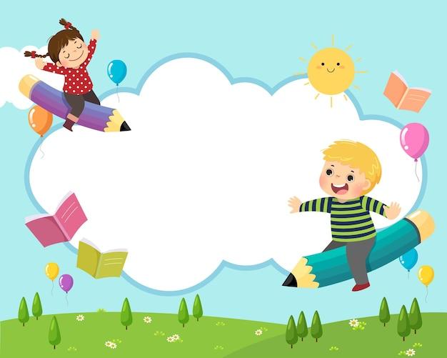 空に飛んでいる鉛筆に乗って幸せな学校の子供たちと学校の背景の概念に戻ります。 Premiumベクター