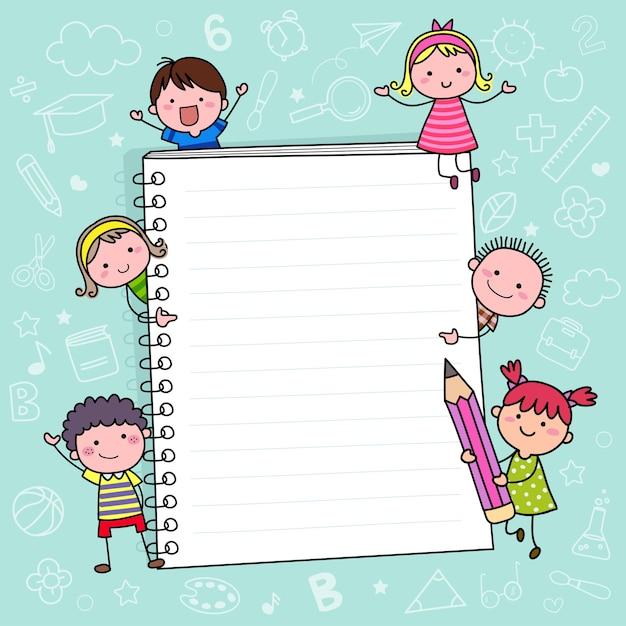 ノートブックと子供たちと一緒に学校に戻る背景テンプレート Premiumベクター