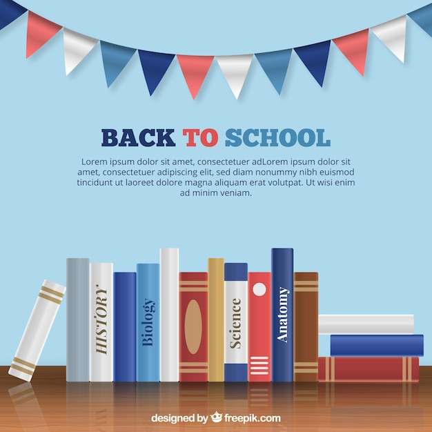 Back to school background with books in flat design