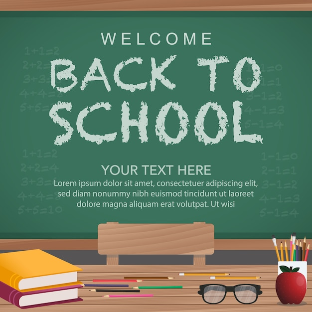 Back To School Background With Chalkboard Free Vector