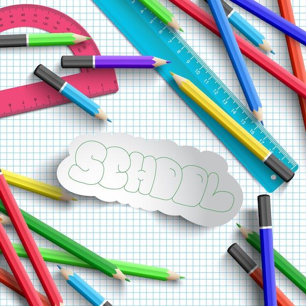 Обратно в школу с красочными школьными принадлежностями Бесплатные векторы