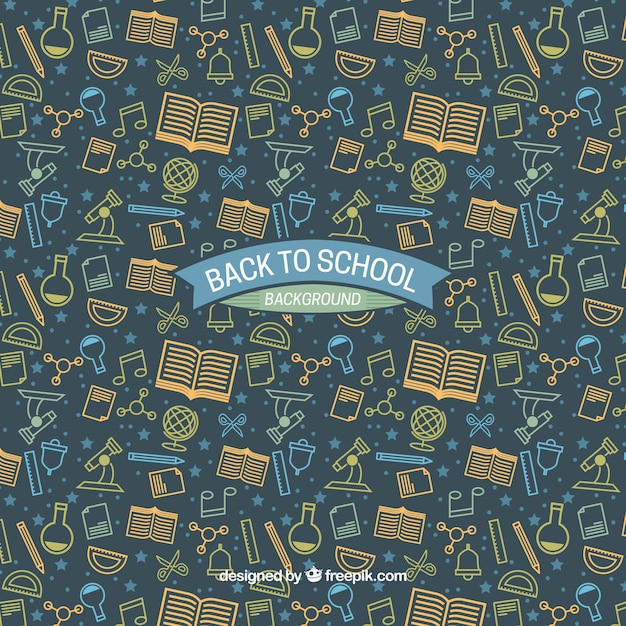 Back to school background with drawings of school supplies