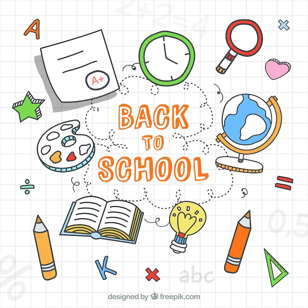 Back to school background with drawings