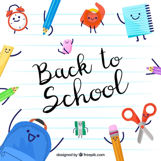 Back to school background with funny hand drawn accessories  Free Vector