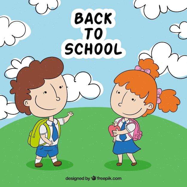Back to school background with hand drawn children