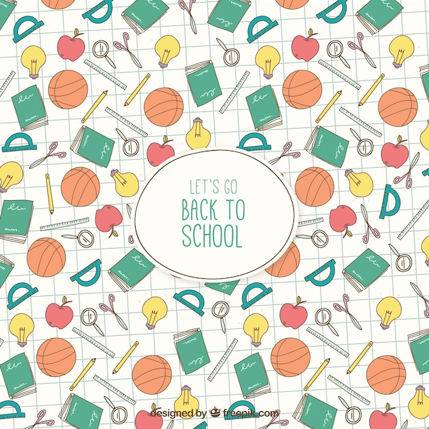 Back to school background with hand drawn elements