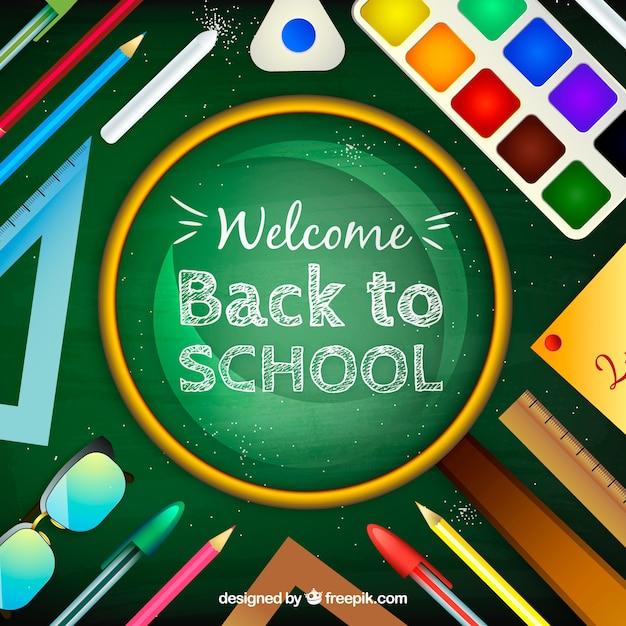 Back to school background with school supplies in realistic style