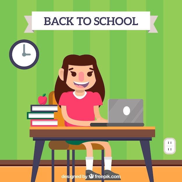 Back to school background with student Free Vector