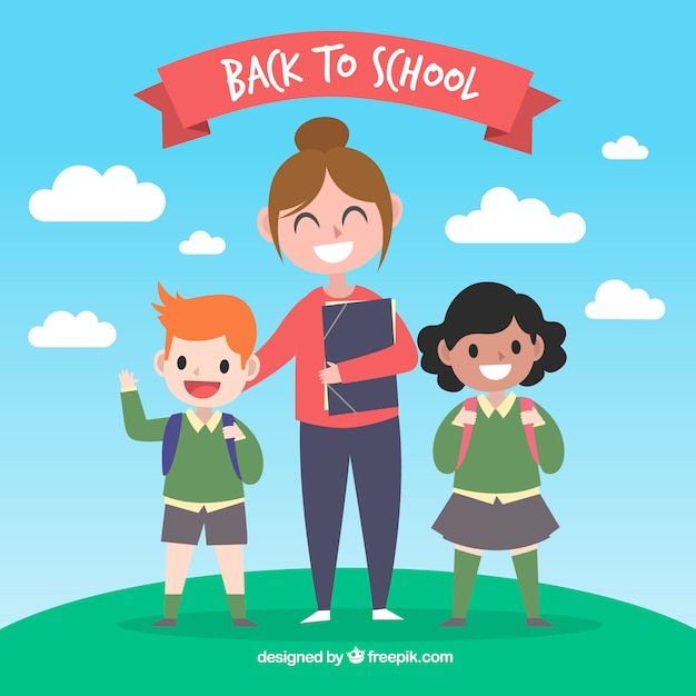 Back to school background with teacher and\ children