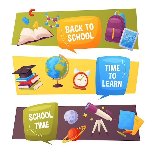 学校に戻るバナーセット。ベクトル漫画の要素が含まれます:スピーチの泡、グローブ、惑星、アラーム、タブレット、バックパック、ノートブック、分子。 Premiumベクター