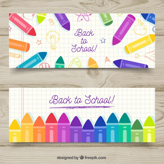 Back to school banners collection with colored pencils Free Vector