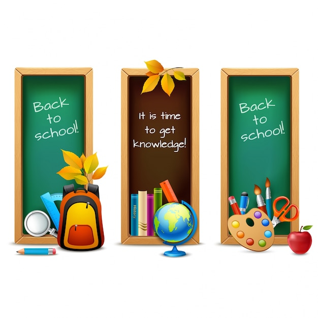 Back to school banners collection Premium Vector