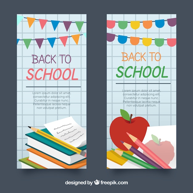 Back to school banners in flat design with garlands