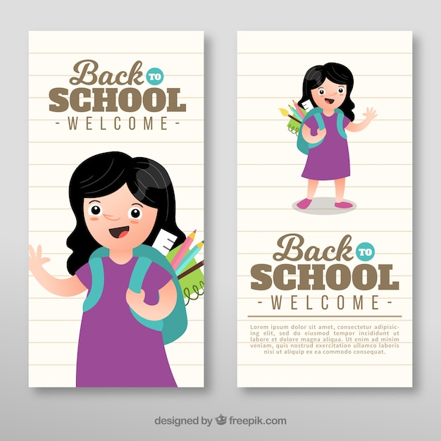 Back to school banners in flat design with happy girl