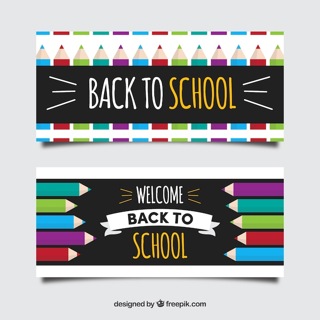 Back to school banners in flat design with pencil concept