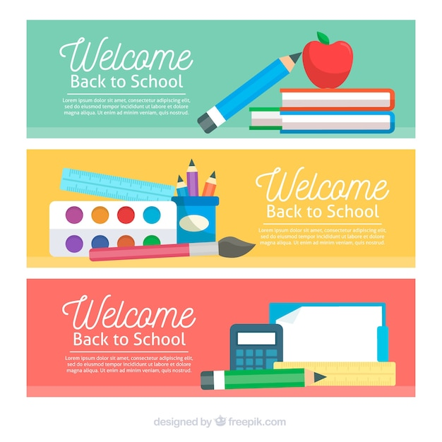 Back to school banners in flat design with space for text
