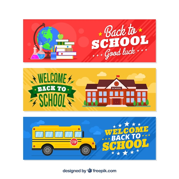 Back to school banners in three colors Free Vector