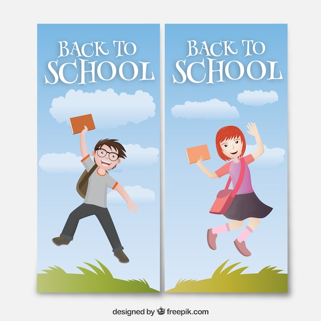 Back to school banners with a boy and a girl Vector | Free Download