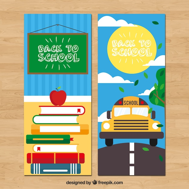 Back to school banners with books and bus in flat design