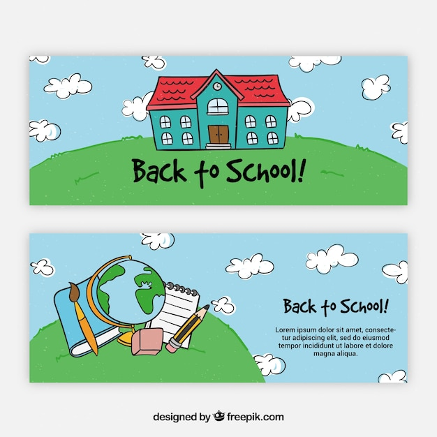 Back to school banners with building