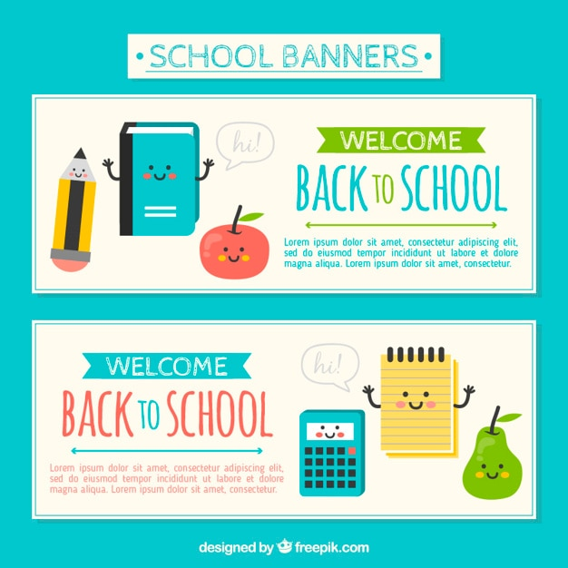 Back to school banners with cute characters