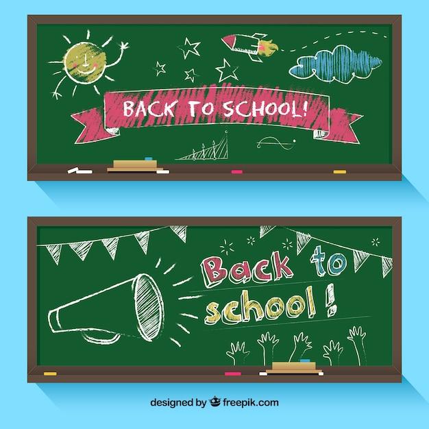 Назад к школьным баннерам с плоским дизайном Premium векторы
