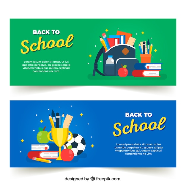 Back to school banners with flat design Free Vector