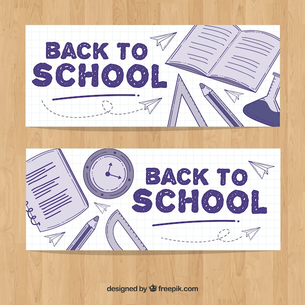 Back to school banners with hand drawn material