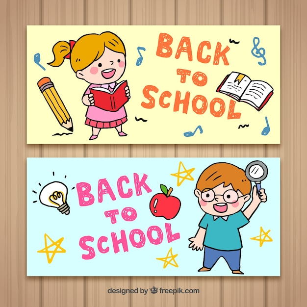 Back to school banners with happy kids