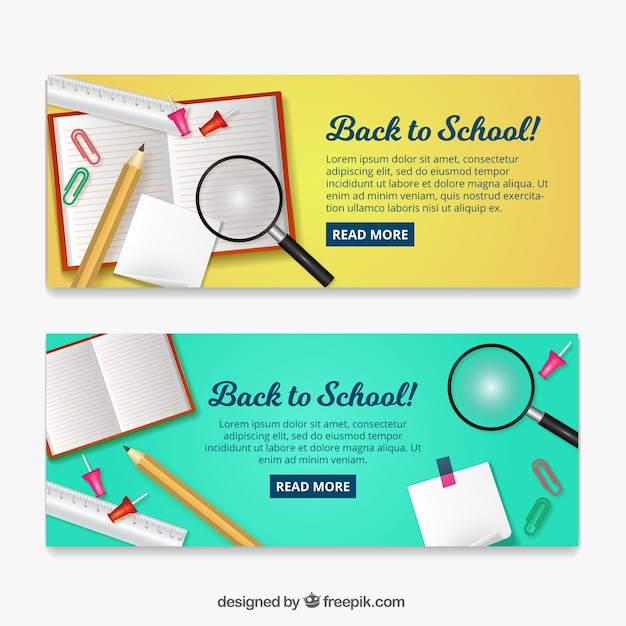 Back to school banners with magnifying glass