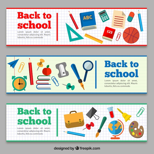 Back to school banners with school items