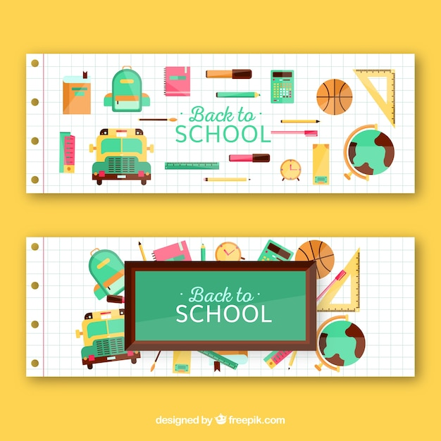 Back to school banners with school supplies and other items
