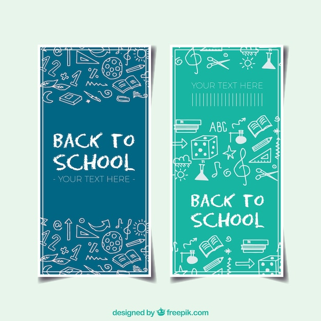 Back to school banners with sketches