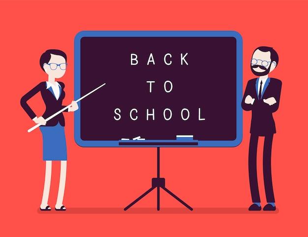 Вернуться к школьной доске. несчастные учителя мужского и женского пола стоят у доски, празднуют новый год в школе, приветствуют учеников, чтобы они начали учиться. иллюстрация с безликими персонажами Premium векторы