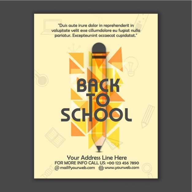Back to school brochure with pencil and triangles vector for Back to school brochure