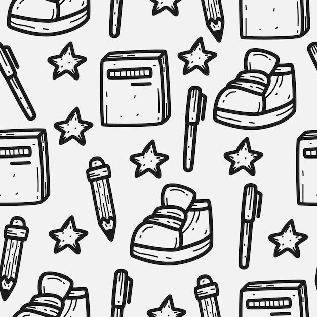学校に戻る漫画落書きパターンデザイン Premiumベクター