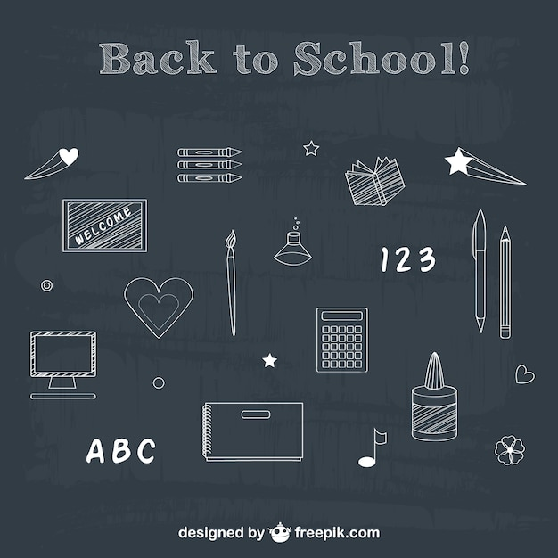 Back to school chalk drawing elements  Free Vector