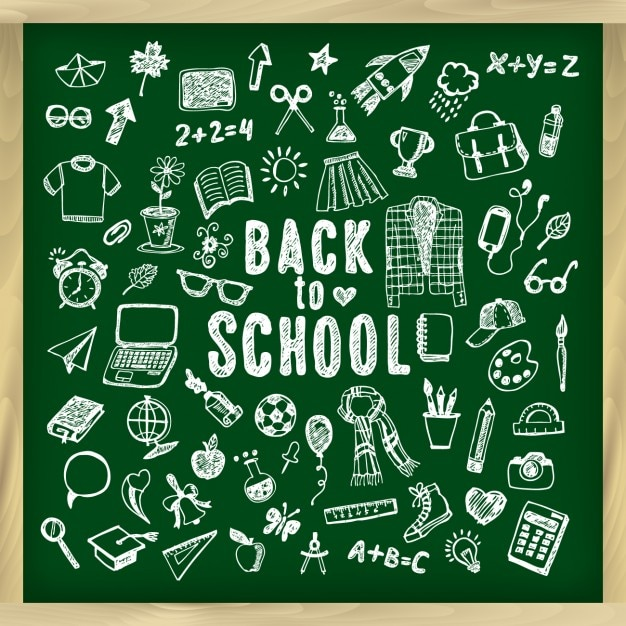 back to school chalkboard background vector free download