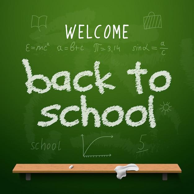 Обратно к школьной доске дизайн надписи. доска с текстом обратно в школу, сделанная мелом Premium векторы