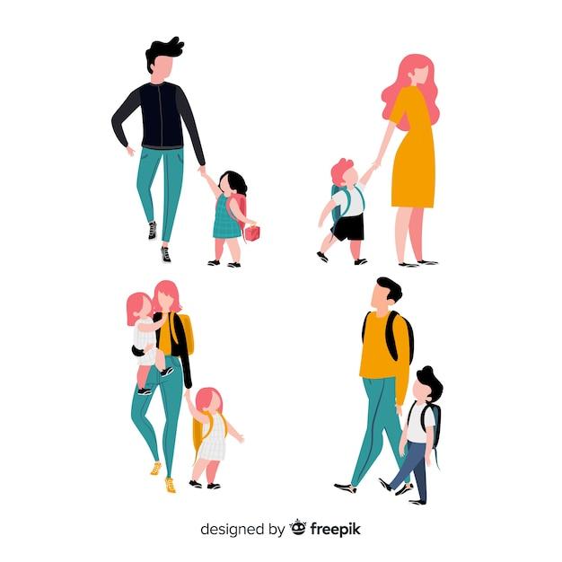 Снова в школу персонажей, мама и папа с сыном и дочкой Бесплатные векторы