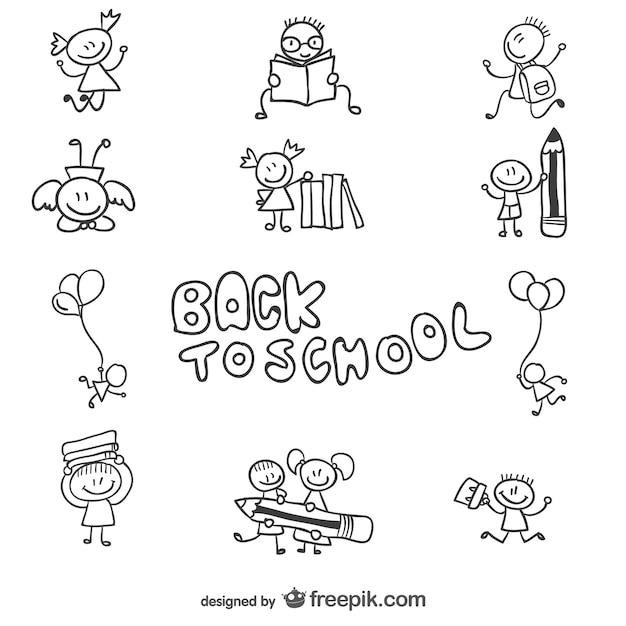 Back To School Children Doodle Graphics Vector  Free Download