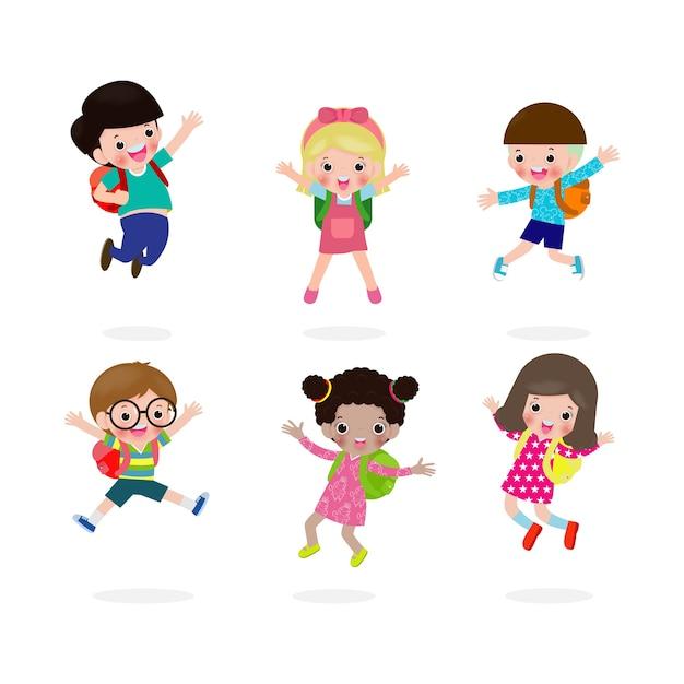 Обратно в школу, счастливые дети прыгают в школу, группа детей и друзей ходят в школу, изолированные на белом фоне Premium векторы