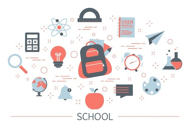 다시 학교 개념. 교육의 아이디어 프리미엄 벡터