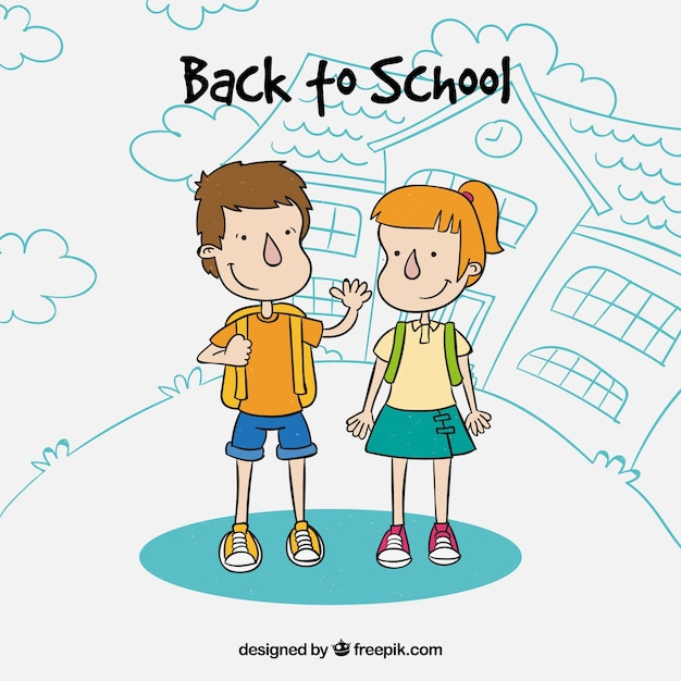 Back to school concept with school kids