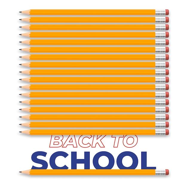 Снова в школу творческой иллюстрации с реалистичным карандашом и текстом. дизайн Premium векторы