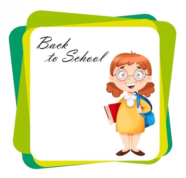 学校に戻る。かわいい女子高生 Premiumベクター